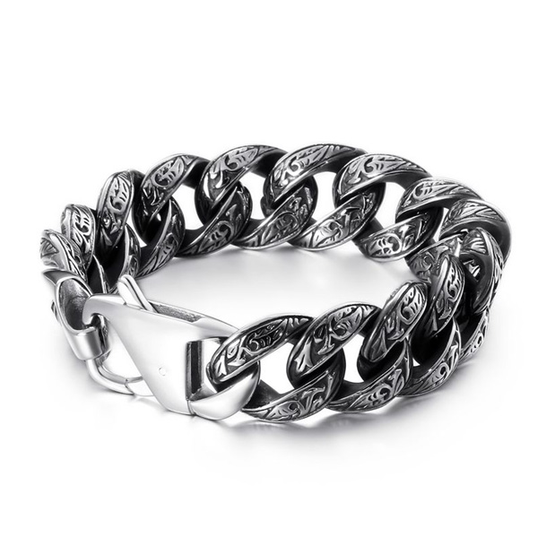316L Steel Punk Curb Link Chain Male Bracelet