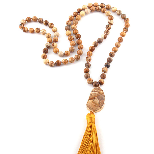 Bohemian Tribal Jewelry Natural-Stones Long Tassel Necklaces