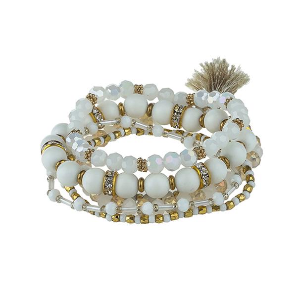 Crystal Bead Bracelet With Rhinestone