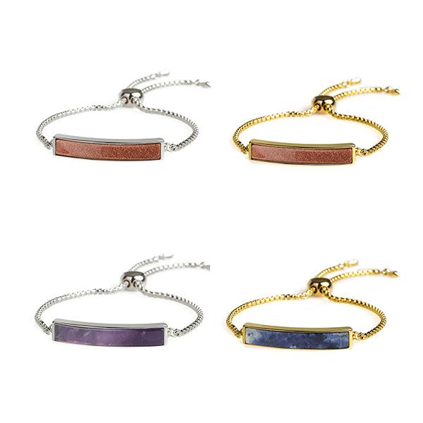 Metal Chain Rectangular Stone Bracelet