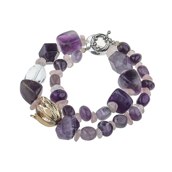 Natural Stone Crystal Bracelet With Clasps