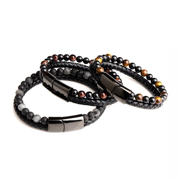 Natural Stones Bead Leather Bracelet