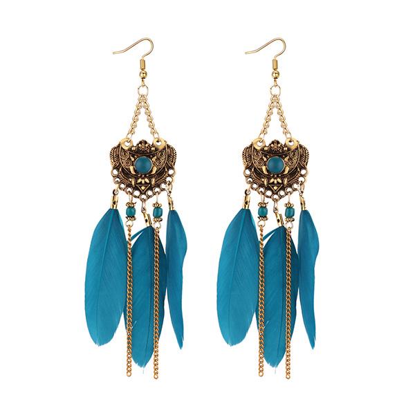 Stainless Steel Drop Vintage Feather Earrings