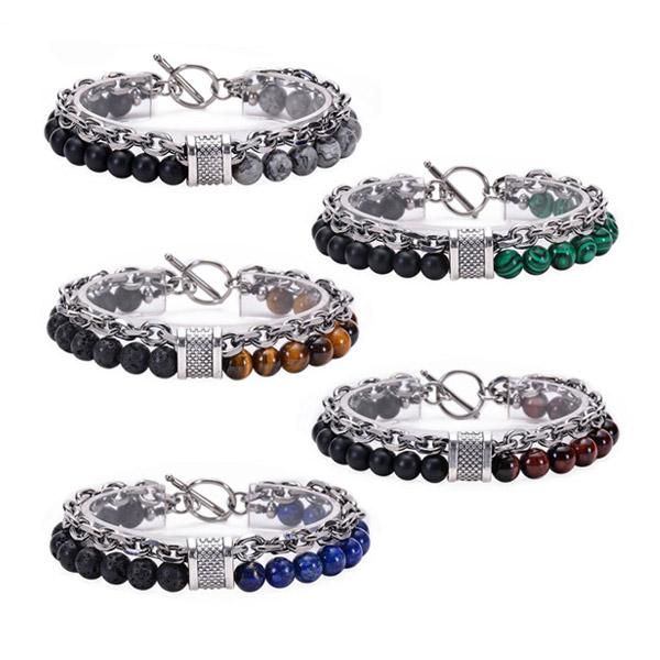 Tiger Eye Stone Stainless Steel Chain Bracelet