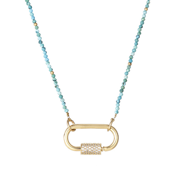 Turquoise Beaded Gold Plated-Lock Clasp Pendant Necklace