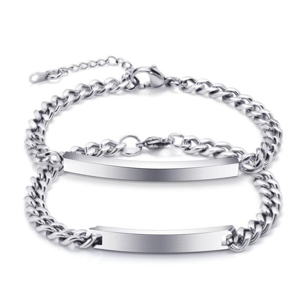Unisex Engraved ID Stainless Steel Bracelet