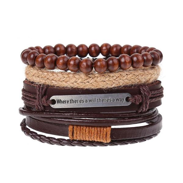 Wooden Beads Mens Leather Bracelet