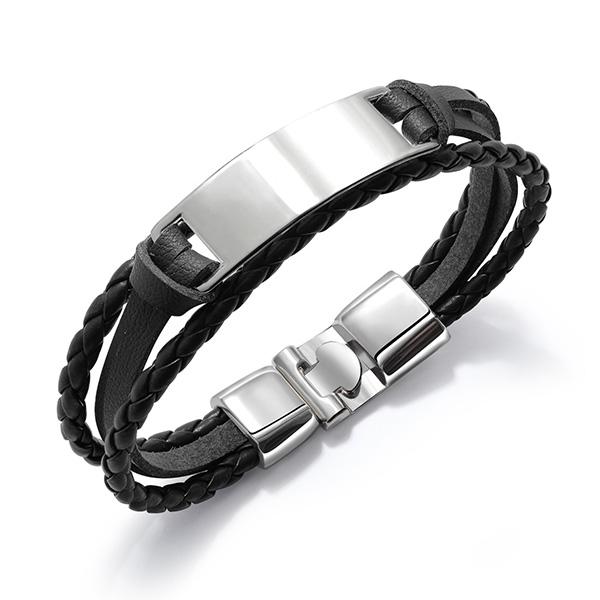 Simple Men's Multi-layer Braided Leather Bracelet