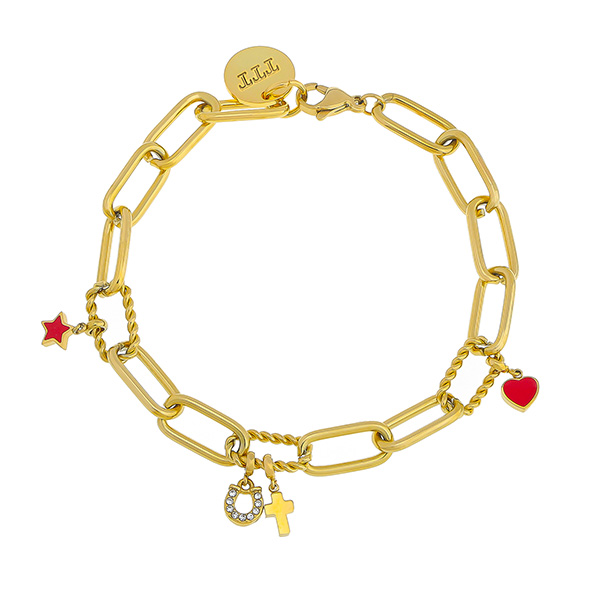 Paperclip Chain Link Bracelet With Customizable Charm 1