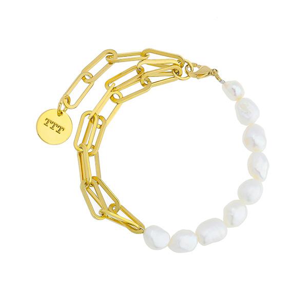Fresh Water Pearl Paperclip Chain Link Bracelet