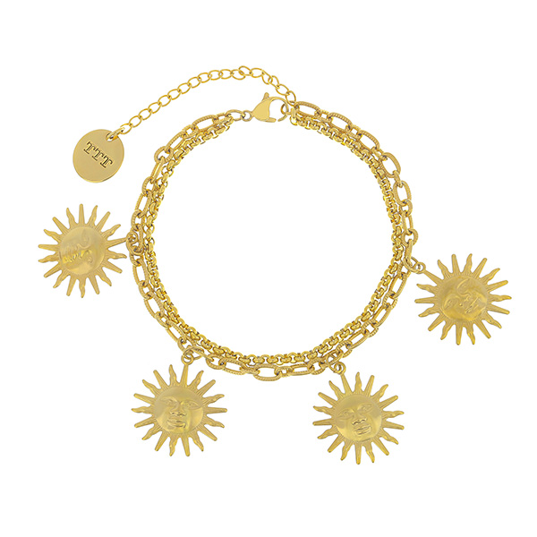 18K Gold-Plated Sun Stainless Steel Charm Bracelet