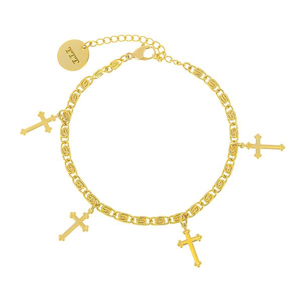 18K Gold-Plated Stainless Steel Cross Bracelet